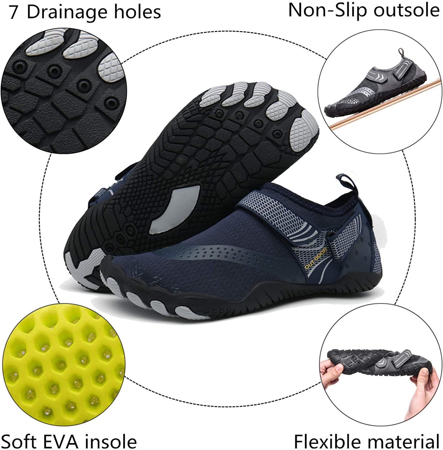 ChayChax Mens Womens Water Shoes Quick Dry Soft Barefoot Aqua Shoes for Surf Diving Swim Pool Beach Walking Sports Yoga