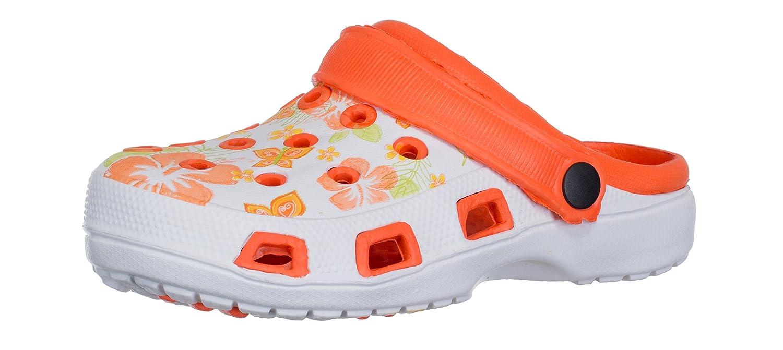 brandsseller Sabots Femmes Pantoufle Chaussure de Jardin Pantoufle Sabots Plage Sandales Plage Clogs Motif de Fleurs Orange/Blanc 7344d36 - conorscully.space