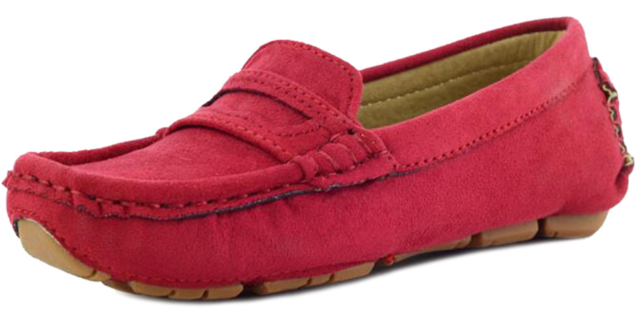 PPXID Girl's Boy's Suede Slip-on Loafers Shoes(Toddler/Little Kid/Big Kid)-Red 13 US Size