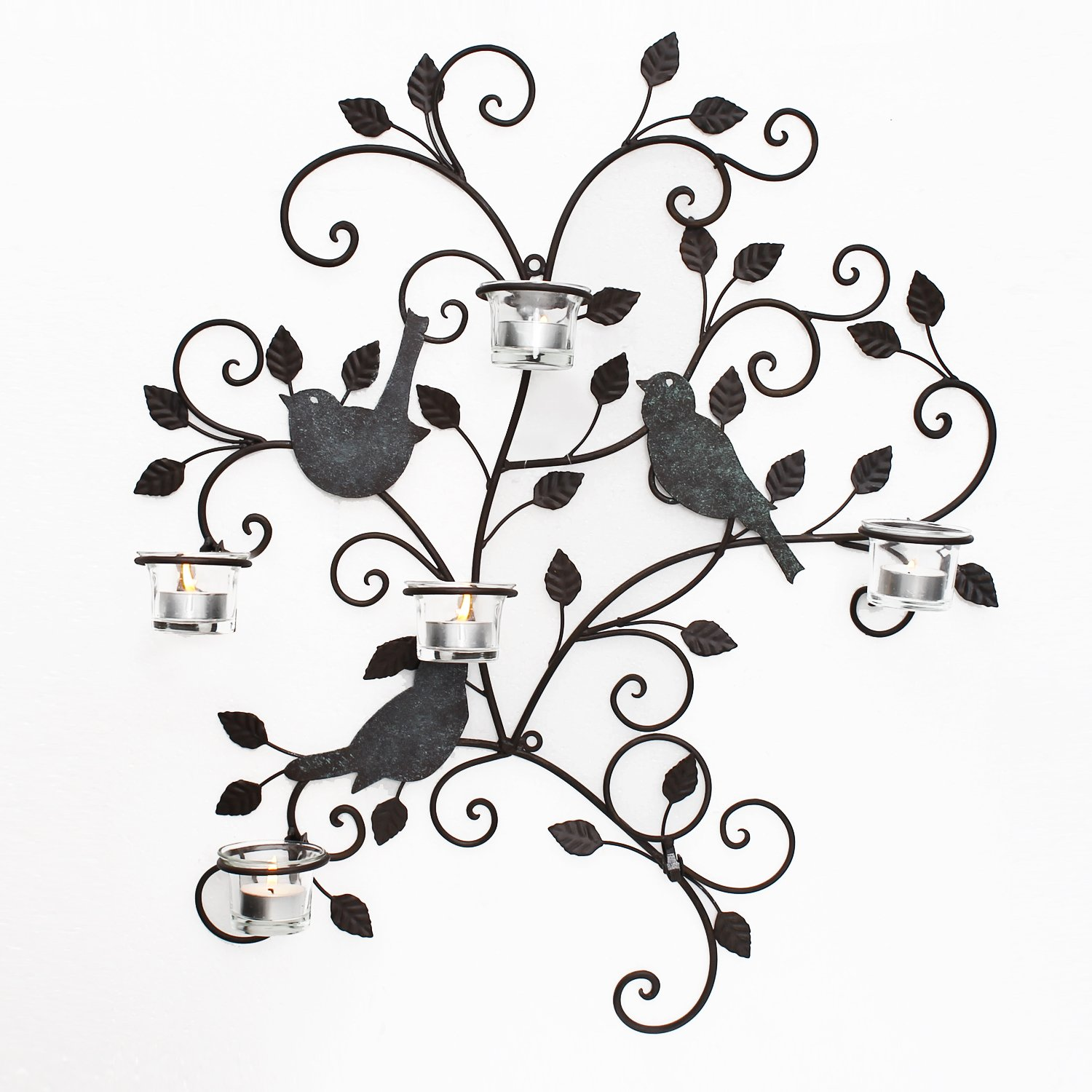 Asense Decorative Metal Wall Art Candle Holder Wall with Birds Style, Sconce Plaque, Tea Light Holder.