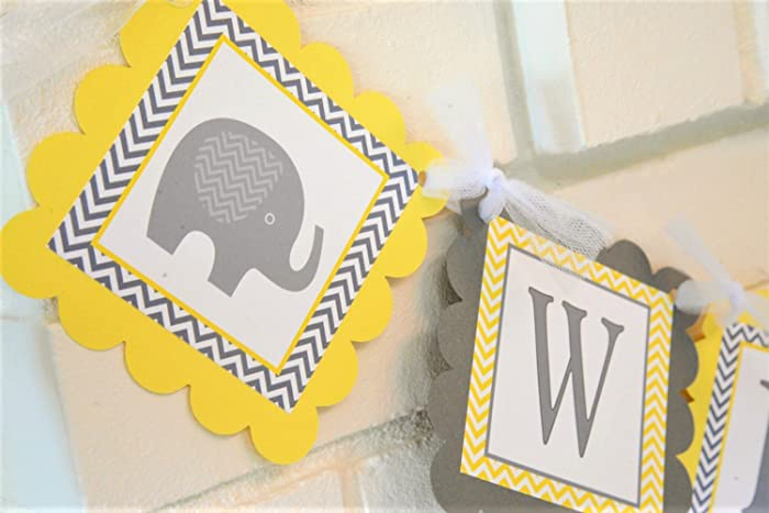 Good Yellow And Gray Welcome Baby Elephant Baby Shower Banner, Customizable  Welcome Baby Elephant Theme Banner