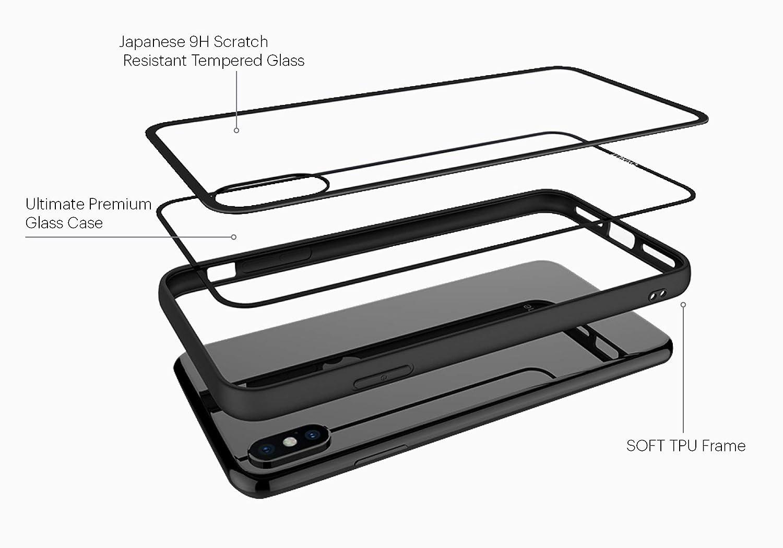 Cygnett Ozone 9H/ /Cover di vetro temperato con Bumper integrato per Apple iPhone XS Max colore nero