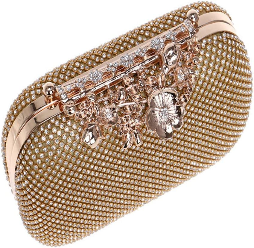 Techecho Bridal Clutch Purse Womens Evening Bag with Flower Closure Rhinestone Crystal Clutch Purse Frosted Handbag Party Color : A