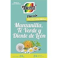 Therbal, Infusion Manzanilla, Te Verde y Diente de Leon 24 sobres , 24 gramos.