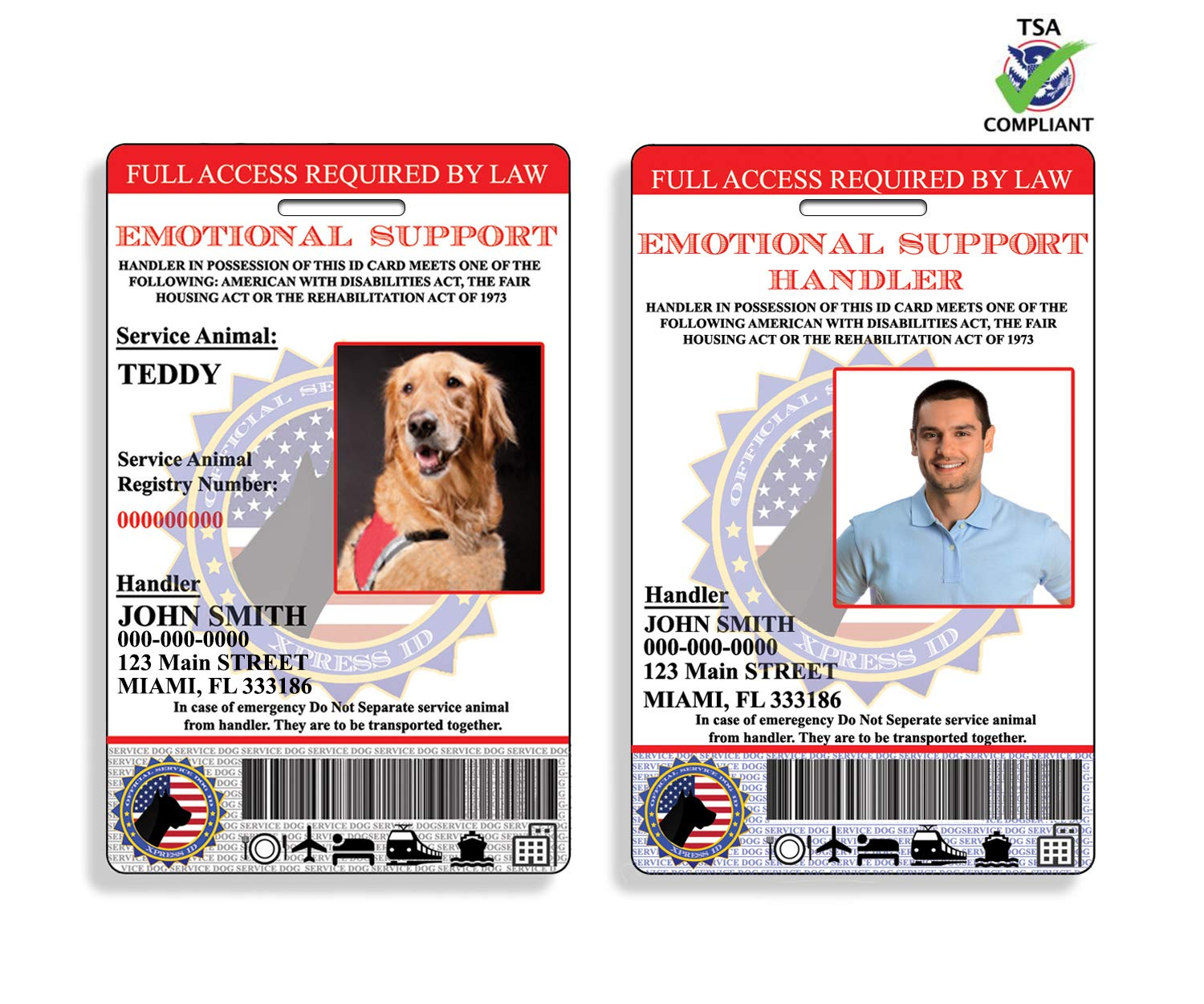 XpressID Holographic Emotional Support Dog & Handler ID Card | Includes Registration to National Dog Registry by Xpress ID