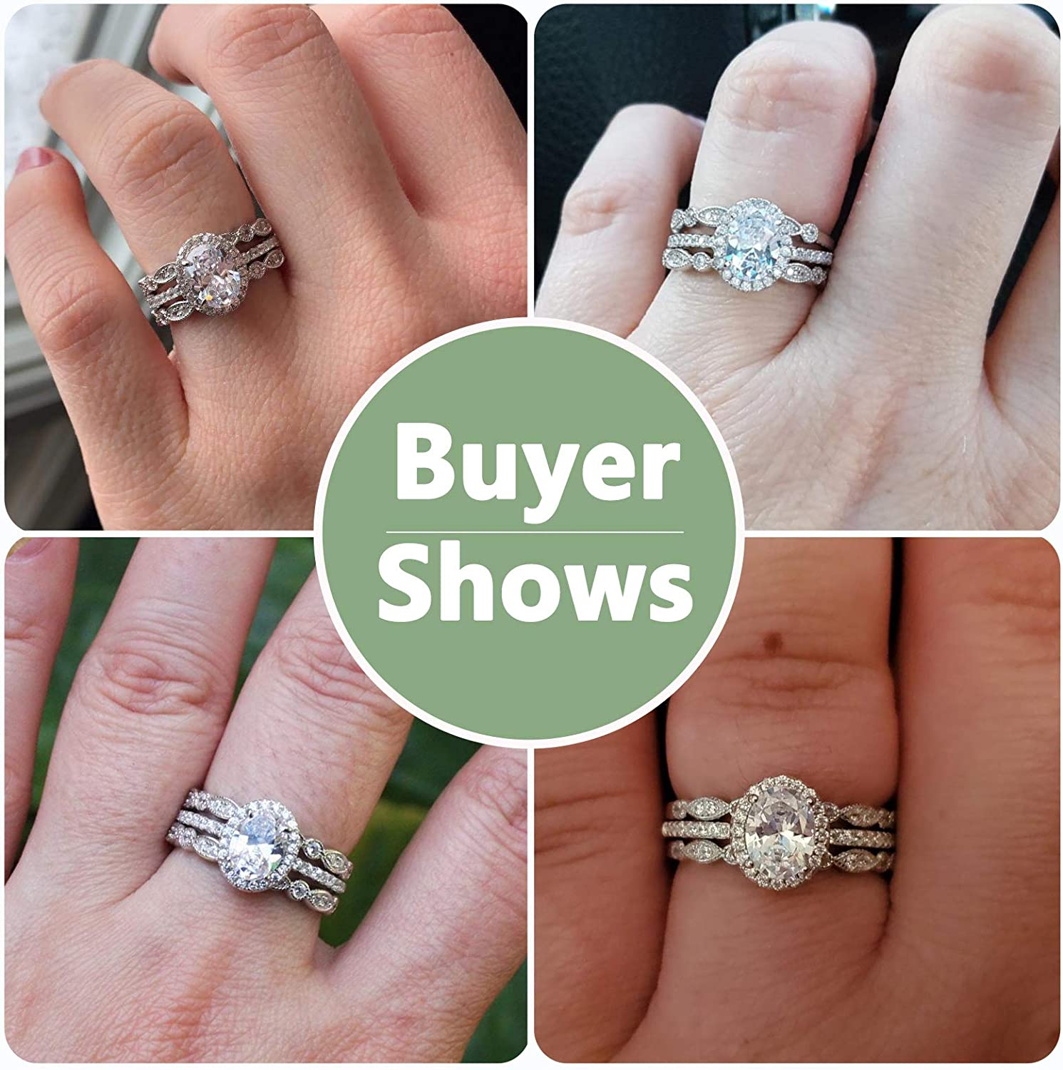 Newshe Jewellery Engagement Sets Wedding Rings for Women 925 Sterling Silver 3pcs White Cz Size 5-10