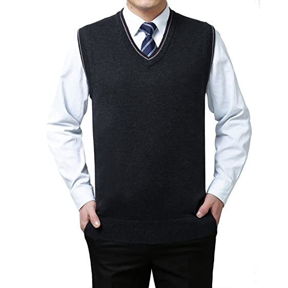 Mens Solid Sweater Knitted Vest Cashmere Wool V Neck Sleeveless ...