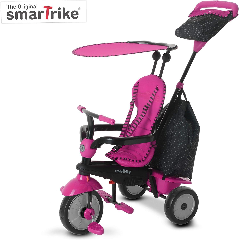 SMARTRIKE Glow Pink Glow - Triciclo de dirección táctil 4 en 1