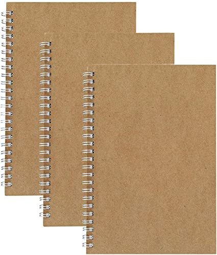 Cuadernos de Cuadrícula en Espiral A5, Pack de 3 Cubierta de Kraft Cuadrícula de 5 mm - Páginas de Cuadrada/Cuadriculado Papel Blanco de 5.3 x 7.5 Pulgadas: Amazon.es: Oficina y papelería