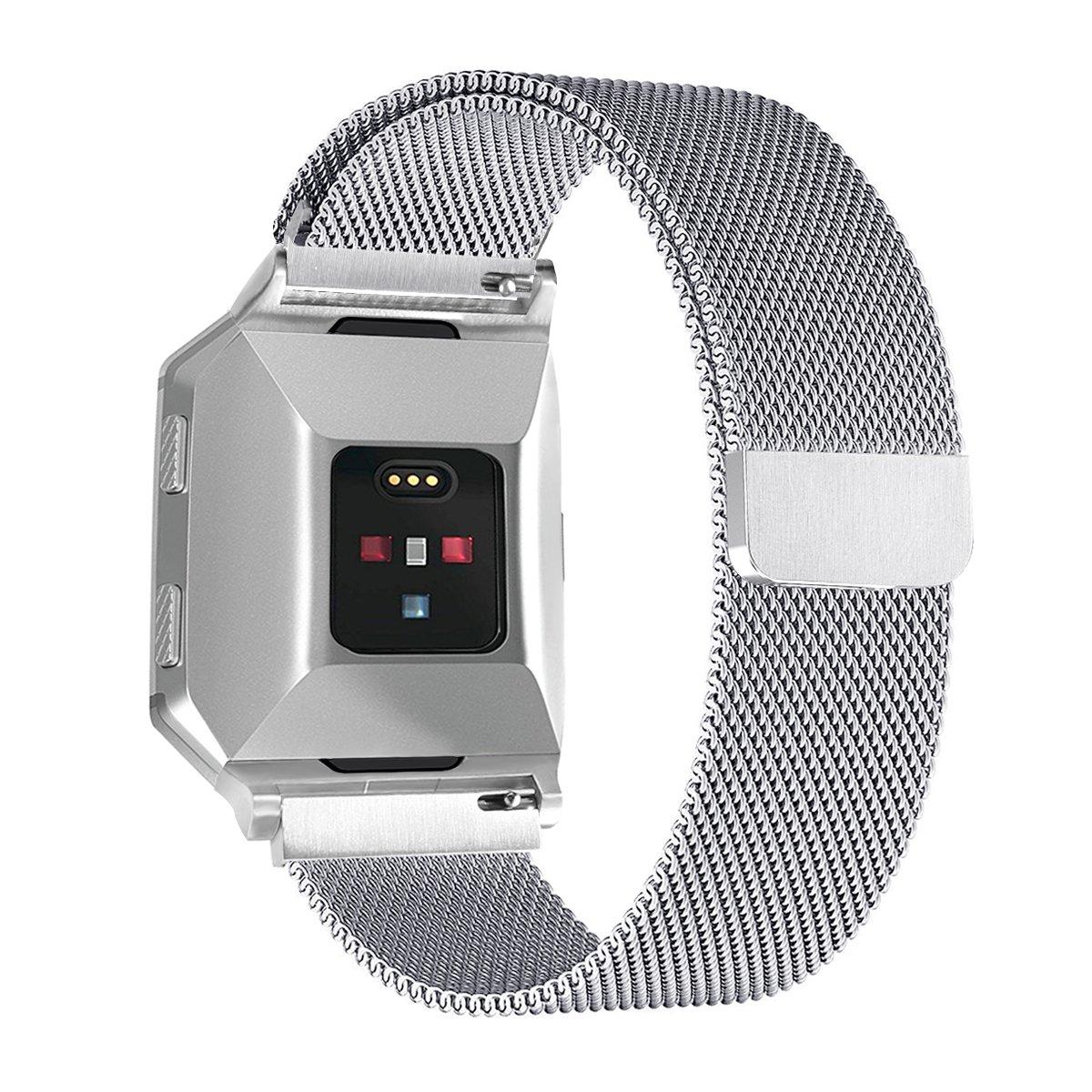 For FitbitイオンバンドMilanese磁気ステンレススチール交換アクセサリーメタル腕時計バンドブレスレットfor Fitbit Ionic、Small and Large Large(6.7