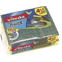 Vileda Power Düz Bulaşık Süngeri, Temizlenmesi kolay, 4'lü Paket