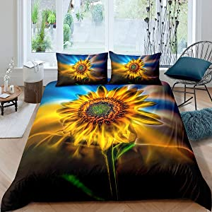 Sunflower Comforter Set Queen Floral Print Bedding Set Modern Style Girls Boys Teen Bedding Comforter Cover 3 Pieces Ultra Soft Youth Pattern Decor Adult Loves the Life Bedding Set with Zipper Ties