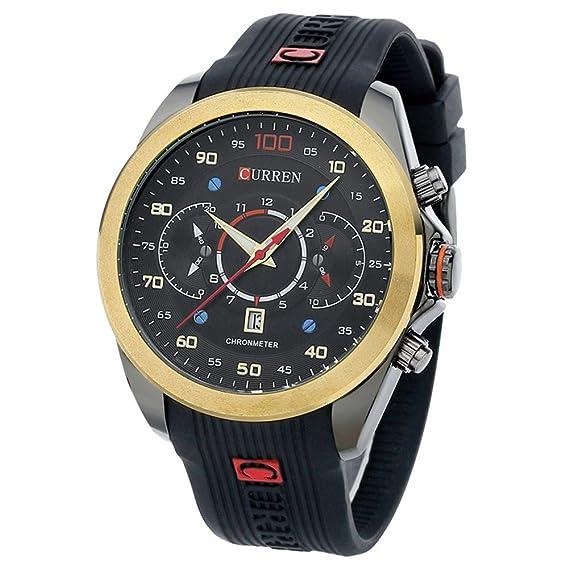 Caja de oro populares reloj de pulsera de gran correa de caucho reloj de esfera de