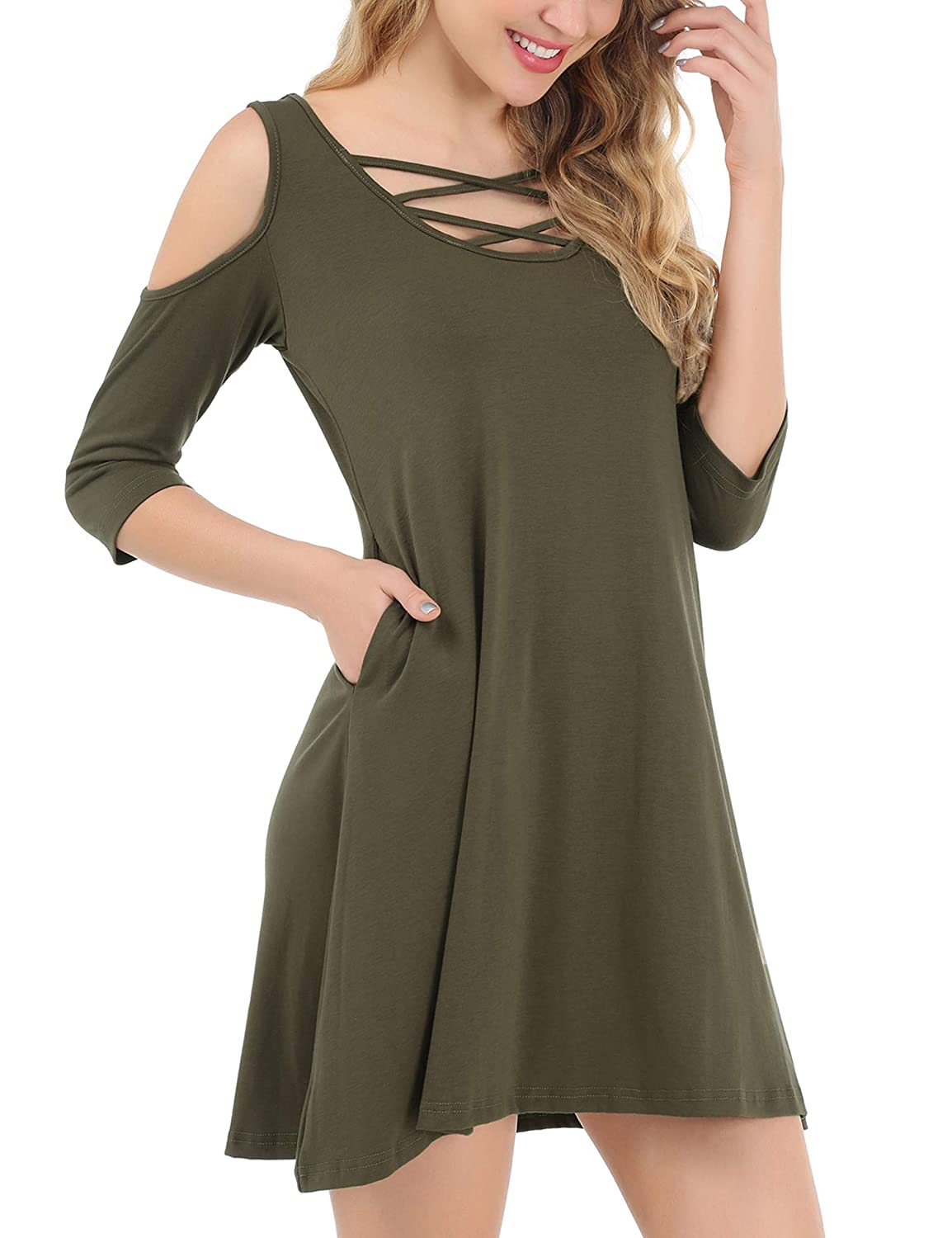 ae17905061b Pasithea Women s Cold Shoulder Criss Cross Neck 3 4 Sleeve Casual Tunic Top  Dress with Pockets  Amazon.co.uk  Clothing