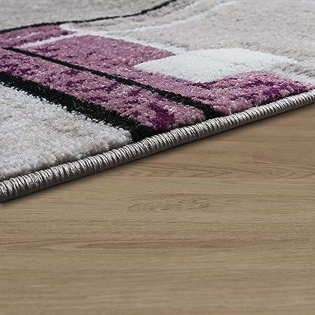 T&T Design Alfombra De Diseño Líneas Cuadros Jaspeado Especial Gris Lila Perfil Contorneado, Größe:80x150 cm