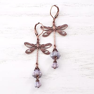 Long Antique Style Filigree Dragonfly and Flower Dangle Earrings