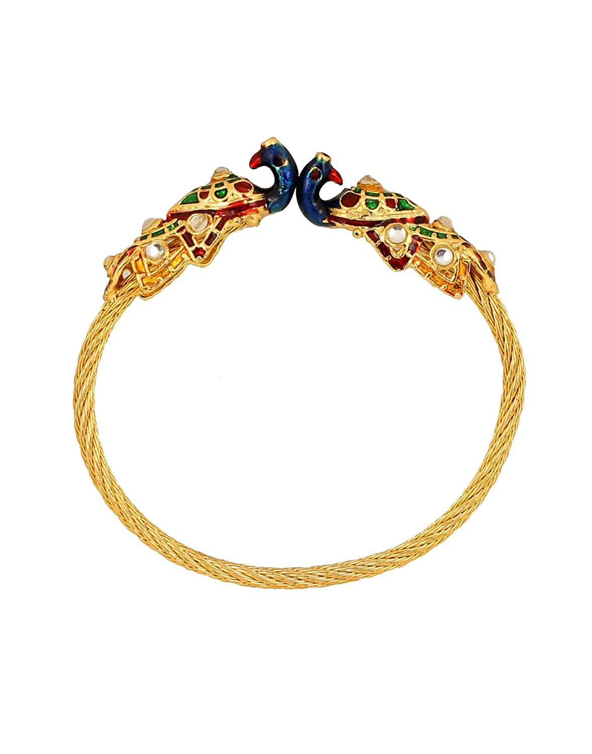 Touchstone New Indian Bollywood Brass Base Enchanting Look Finely Hand Crafted Work Enamel Meena Openable Free Size Bracelet in Gold Tone for Women.