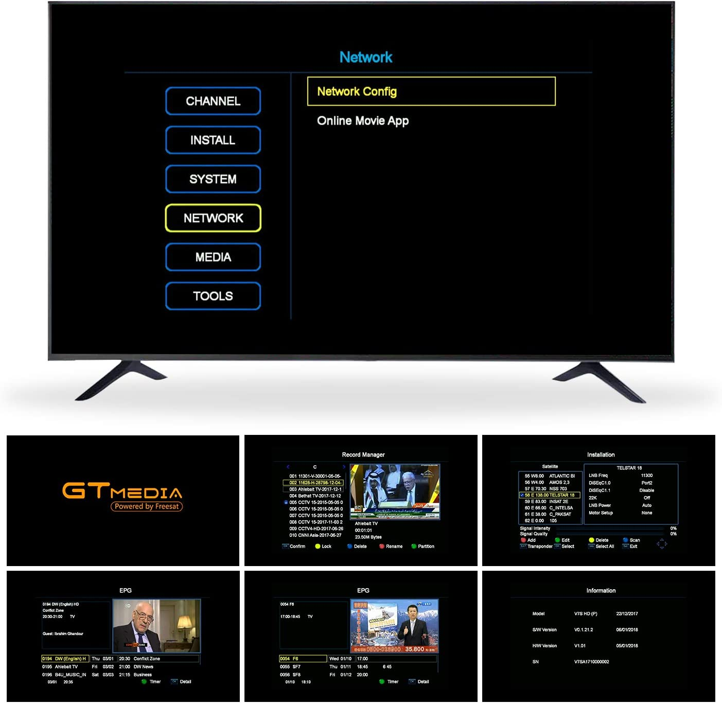 GT MEDIA V7S HD Receptor Satélite DVB-S/S2 Decodificador de TV por Satelite con Antena WiFi USB, 1080P Full HD Soporte PVR CCcam Youtube Astra 19.2E (Freesat V7 HD Mejorada): Amazon.es: Electrónica
