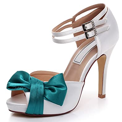 06155974b46 YOOZIRI Wedding Shoes,Bridal Shoes,Women Shoes, White and Teal Wedding  Sandals with Bowknot 4 inch Heels,RS-9807-EU35