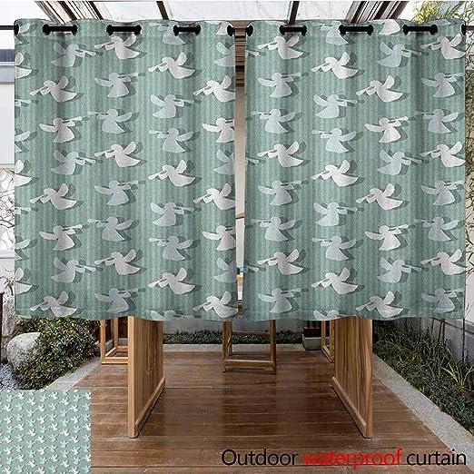 AndyTours - Cortina de pérgola con diseño de ángeles de Navidad y Siluetas sobre Fondo de Rayas, diseño de Noel Yule, Cortinas para Sala de Estar, Color Verde y Blanco: Amazon.es: Jardín