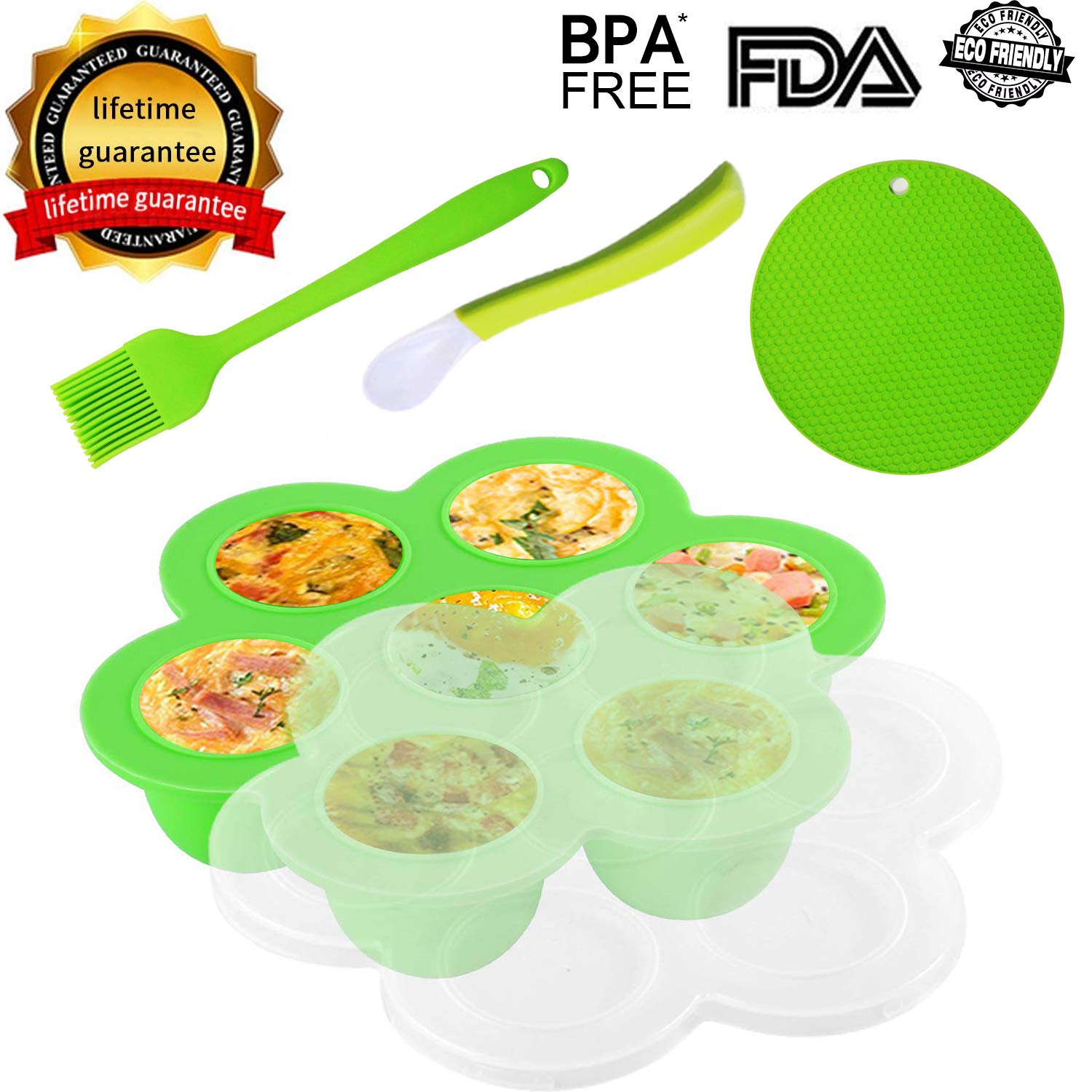 Soft Silicone Egg Bites Mold| Brush| Spoon| Holder for Instant Pot Accessories fit 5,6,8 qt Pressure Cooker,HENSUN Flexible Reusable Baby Storage Container Freezer Tray w/Lid| Sous Vide Egg Poacher