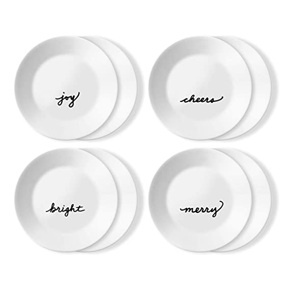 Corelle Chip Resistant 8 Pack Appetizer Plates, 8-Piece, Holiday Celebrations best christmas plates