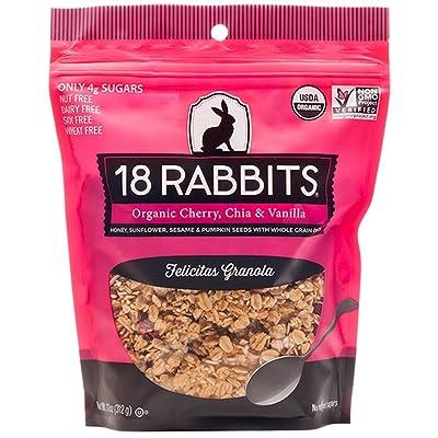 18 Rabbits Organic Felicitas Granola, Cherry, Chia & Vanilla, 11 Ounce bag: Granola Bars
