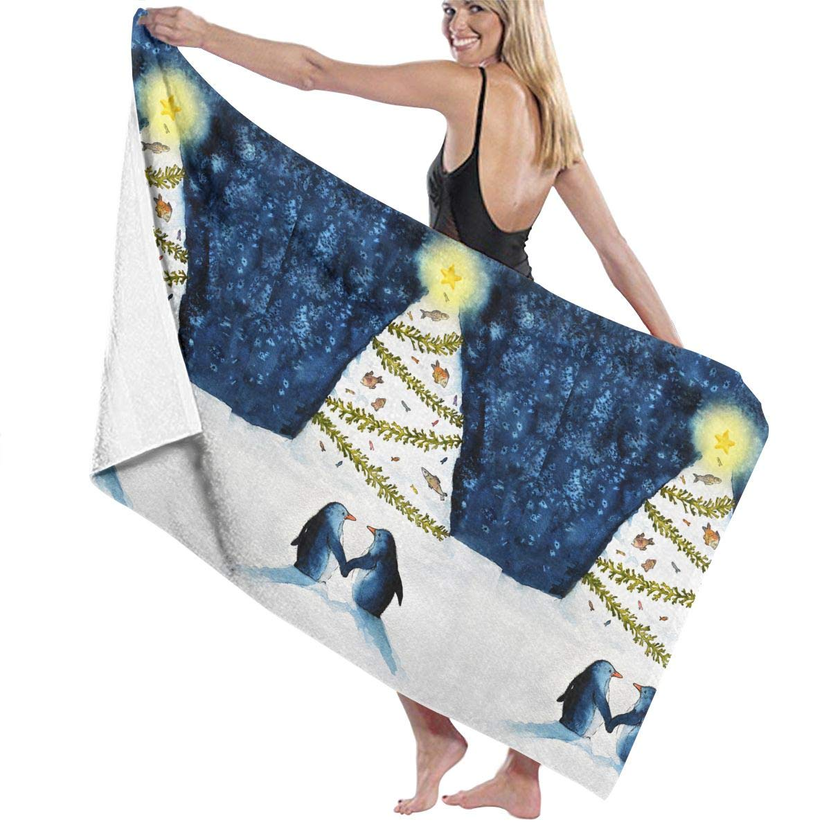 Amazon.com: QWED Penguin Christmas Unisex Luxury Beach ...