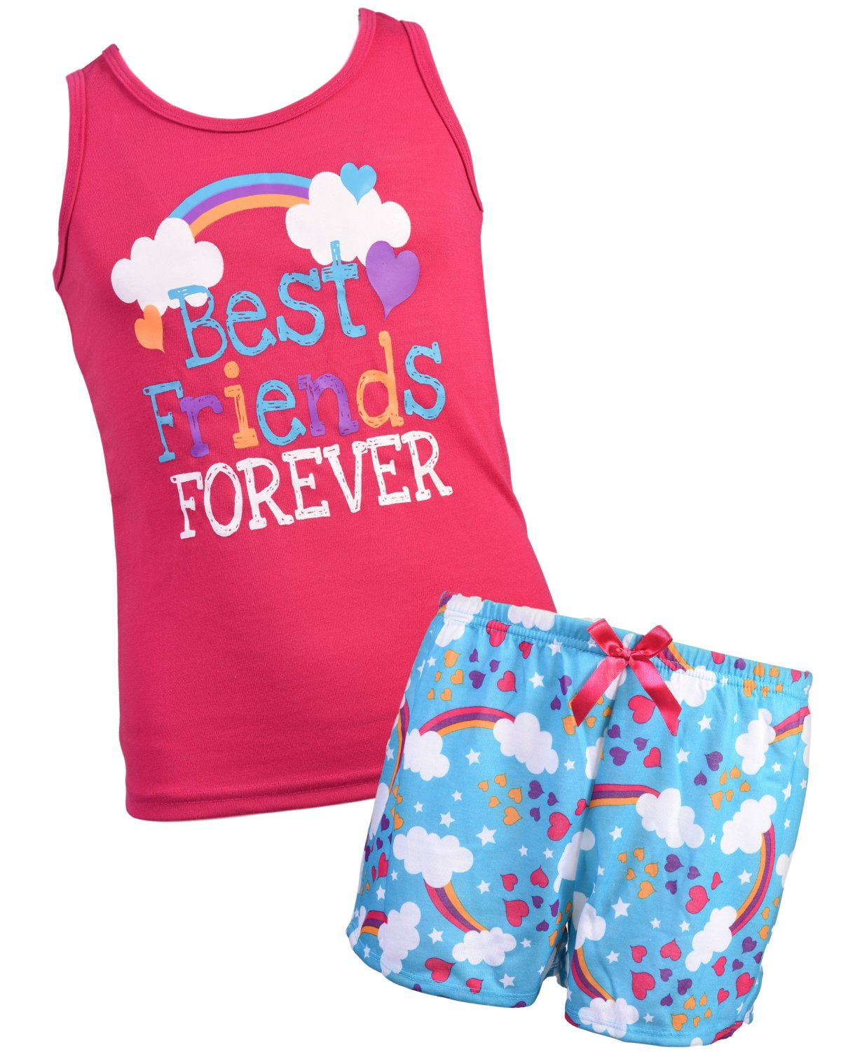 Sleep & Co Girl's 2-Piece Spring Tank and Short Pajama Set, Fuchsia, Size 8