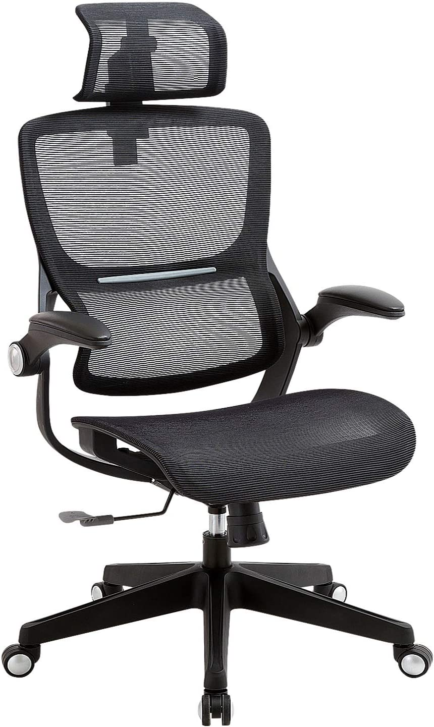 SAMOFU Office Chair Ergonomic Desk Chair Mesh Computer Chair with Adjustable Headrest Flip up Arms,Technical Task Swivel Executive High Back Home Office Chair(Black)