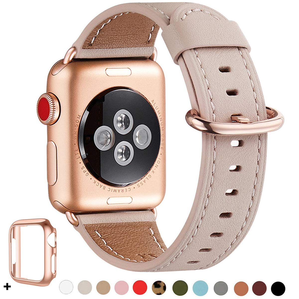 WFEAGL Compatible iWatch Band 40mm 38mm, Top Grain Leather Band with Gold Adapter(The Same as Series 4/3 with Gold Aluminum Case in Color) for iWatch Series 5/4/3/2/1(Pink Sand Band+Rosegold Adapter) by WFEAGL