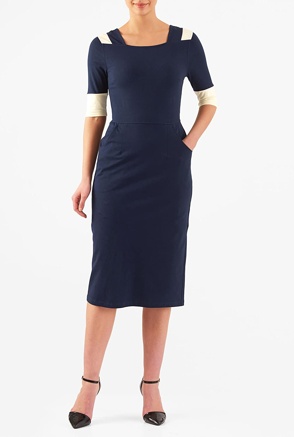 1960s Style Dresses- Retro Inspired Fashion eShakti Womens Cotton knit contrast trim sheath dress $49.95 AT vintagedancer.com