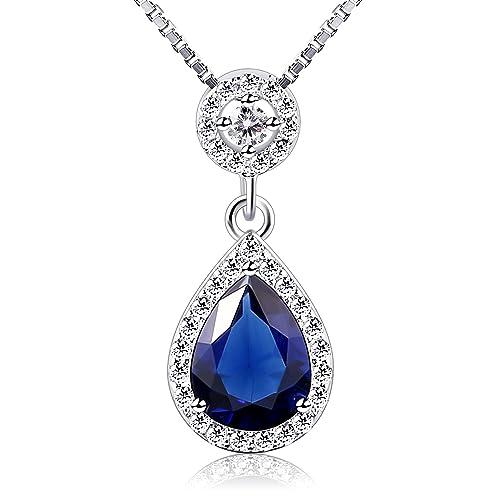 af31015d776f B.Catcher Collar Mujer 925 Plata de Ley con azul Forma de lágrima ...