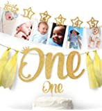 1st Birthday Gold Glitter Decorations - Handmade Monthly Milestone Photo Banner for Newborn to 12 Months, Cake Topper…