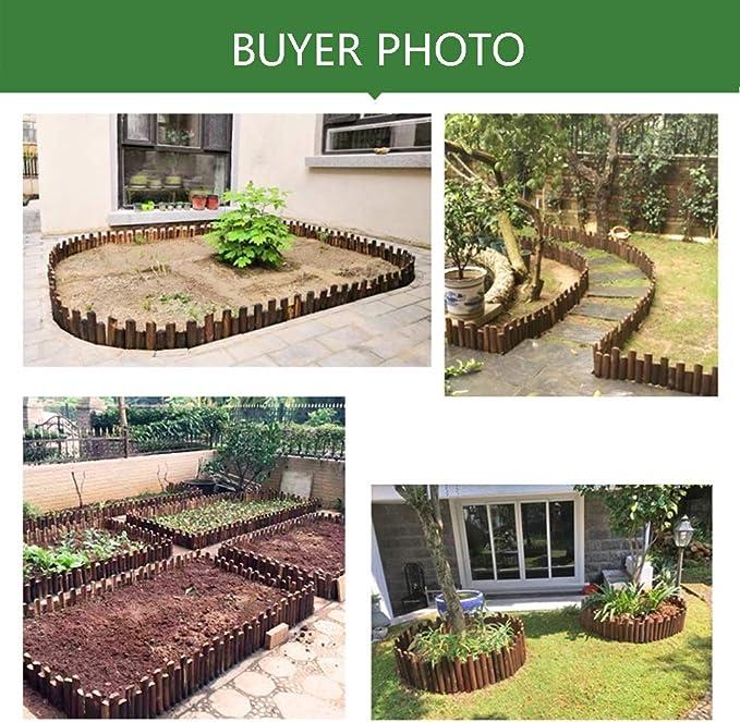 ZENGAI-vallas de Madera Valla De Madera Cercados Plegable Flexible jardín Cama de Flores Vegetal al Aire Libre Enchufar Diseño Alto y bajo Verde (Size : H40/45CM): Amazon.es: Jardín