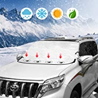 Car Windshield Snow Ice Cover Magnetic Winter Frost Protector Cover with 2 Mirror Covers,… photo