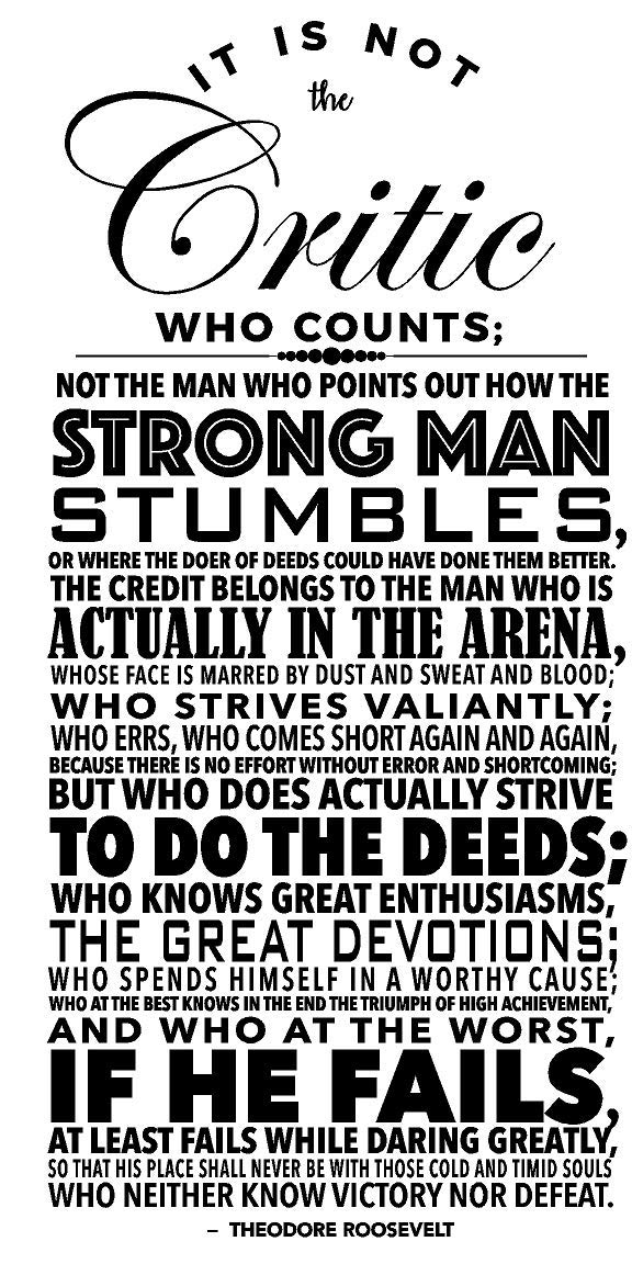 Newclew It is not the critic who counts; The credit belongs to the man who is actually in the arena, whose face is marred by dust and sweat and blood - Theodore RooseRemovable wall Sticker Décor Decal