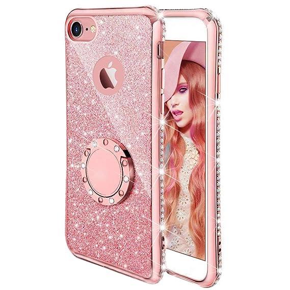 53178d937 Compatible Apple iPhone 6 Plus 6S Plus Case, ANERNAI Thin Ring Holder  Kickstand Glitter Sparkle