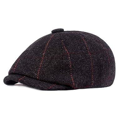 HowYouth Mens Classic Vintage Newsboy 8 Panel Herringbone Tweed Flat Cap  Gatsby Baker Boy Hat Unisex 01d95181226