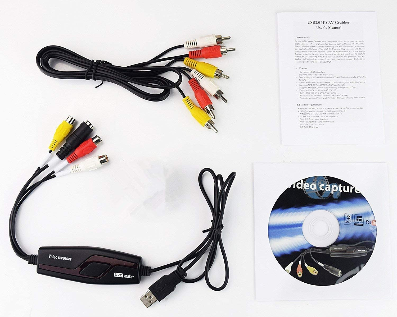 Video Capture Converter, VHS to DVD Capture Analog Video to Digital for Mac or Windows 10 PC: Home Audio & Theater