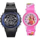 Capture Fashion™Kids Digital Seven Light Blue Boy Watches and Analogue Barbie Pink Girls Watch Combo
