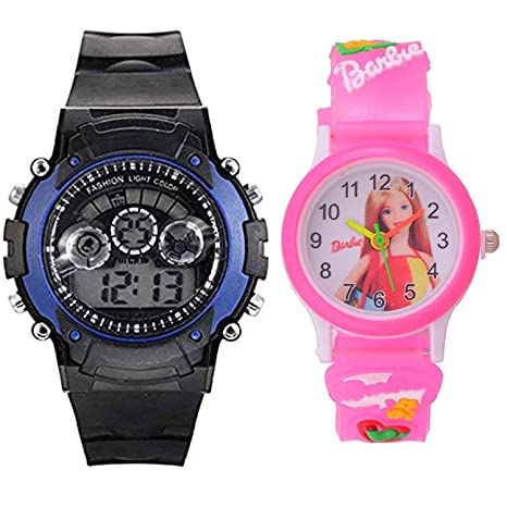 "Capture Fashionâ""¢Kids Digital Seven Light Blue Boy Watches and Analogue Barbie Pink Girls Watch Combo"