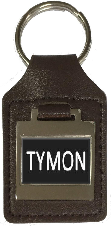 Tymon Leather Keyring Birthday Name Optional Engraving