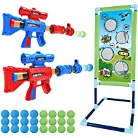 Shooting Game Toy for 5 6 7 8 9 10+ Years Olds Boys and Girls,2pk Foam Ball Popper Air Toy Guns with Standing Shooting…