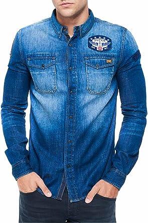 Superdry Camisa para Hombre, Azul (Freeway Blue), 38: Amazon.es: Ropa y accesorios