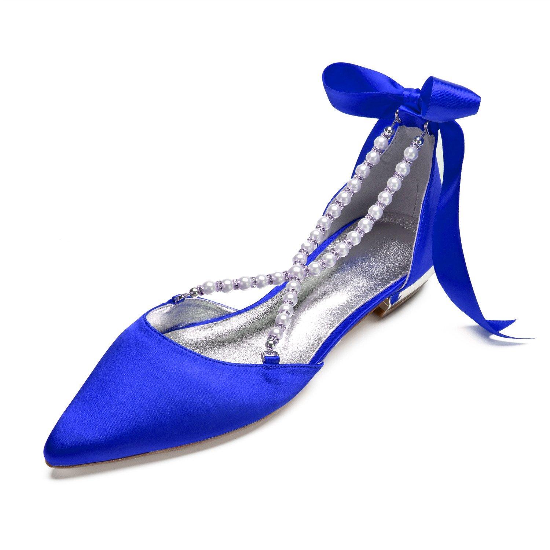 MarHermoso Damen Gürtel Spitze Zehen Krause Perlen Gürtel Damen Elegante Ballerinas Flache Brautschuhe Blau 64e22c