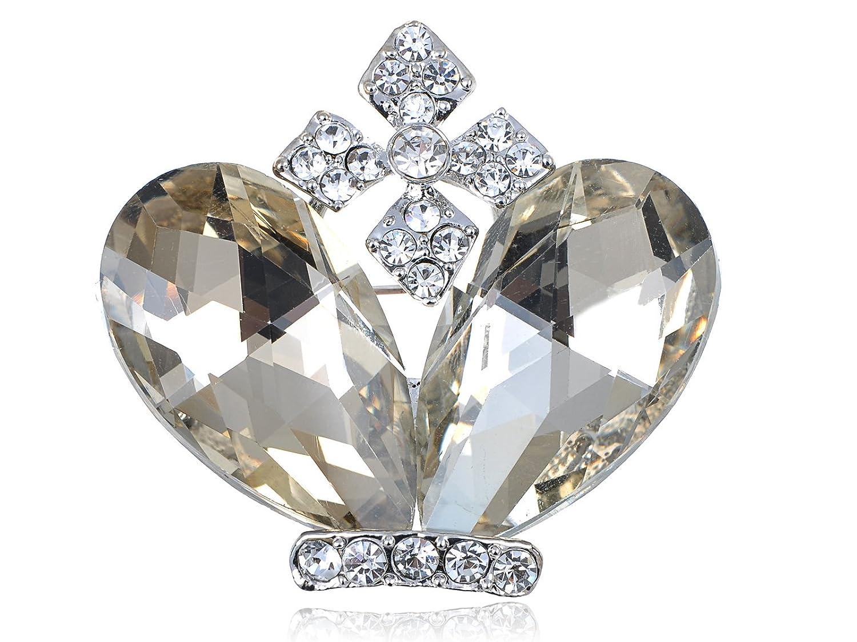 Alilang Royalty Topaz Clear Crystal Gem Rhinestone Cross Pope Crown Prince Pin Brooch