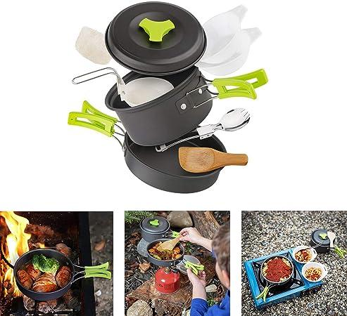 Cozywind Utensilios de Cocina para Camping para 1-2 Personas, Juego de Olla para Acampada y Senderismo, Portátil y Liviano para Cocinar al Aire Libre ...