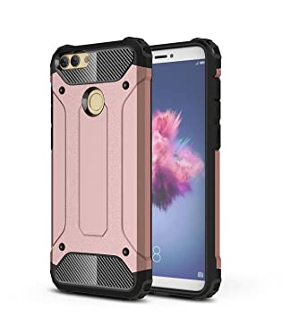 meet ec7a4 b1d56 Huawei P Smart Case,SMTR Hybrid Armor Case Detachable 2 in 1 Shockproof  Tough Rugged Dual-Layer Case Cover for Huawei P Smart - Rose Gold