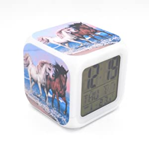 EGS New White Brown Horse Animal Digital Alarm Clock Desk Table Led Alarm Clock Creative Personalized Multifunctional Battery Alarm Clock Special Toy Gift for Unisex Kids Adults